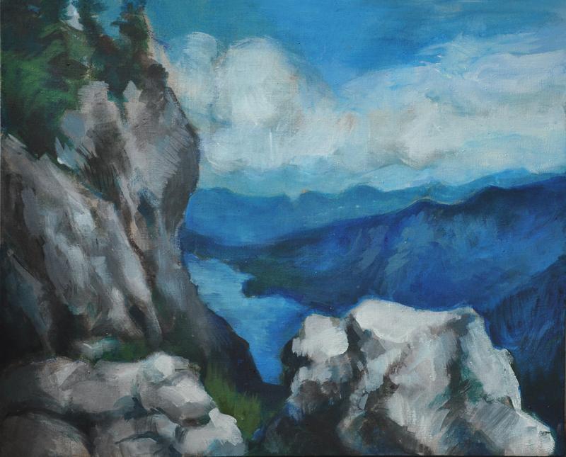 bohohinjsko jezero akryl napłótnie